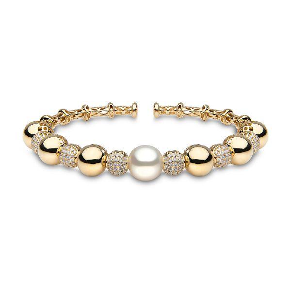 Yoko London 18K White Gold & Pearl Bangle with Diamonds Sr2EX