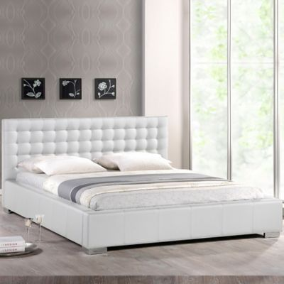 Baxton Studio Madison Queen Platform Bed with Tufted Headboard in White
