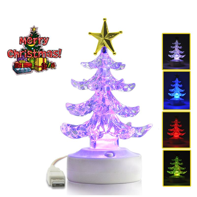 USB Color Changing LED Christmas Tree Ornament with Speaker USB