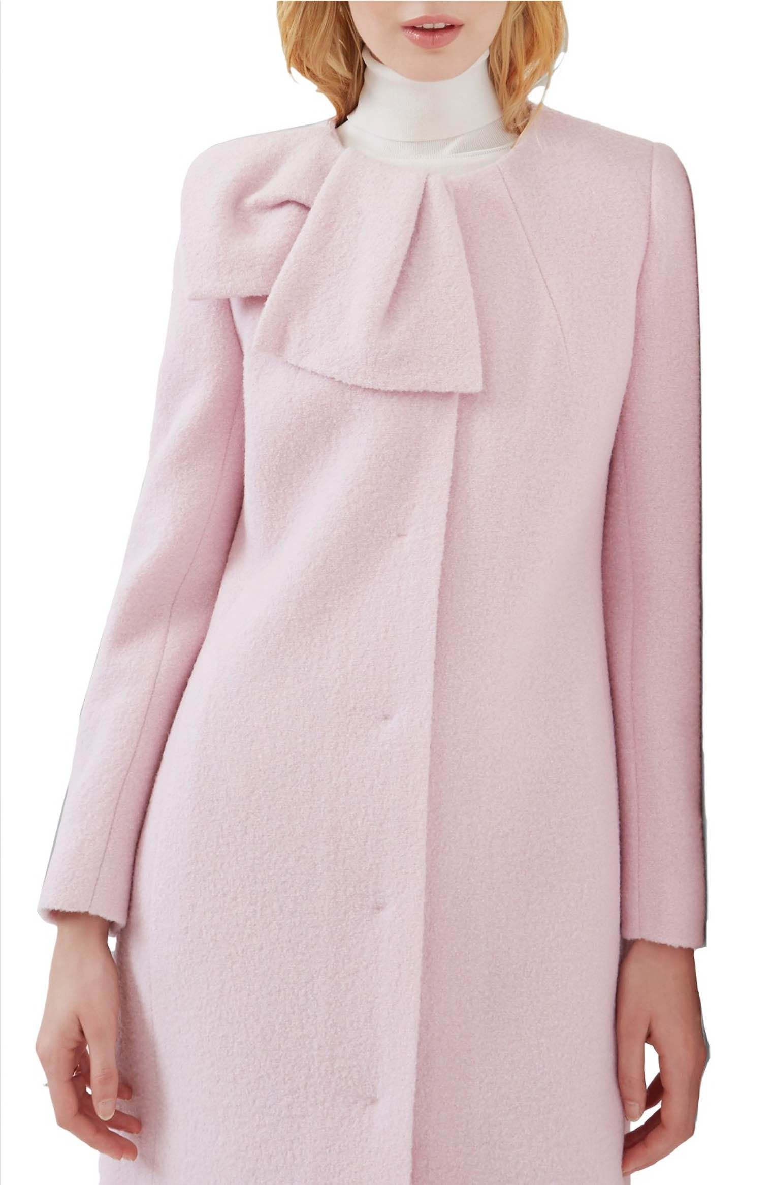c0629f7d2 Main Image - Ted Baker London Bow Neck Coat Boiled Wool Coat
