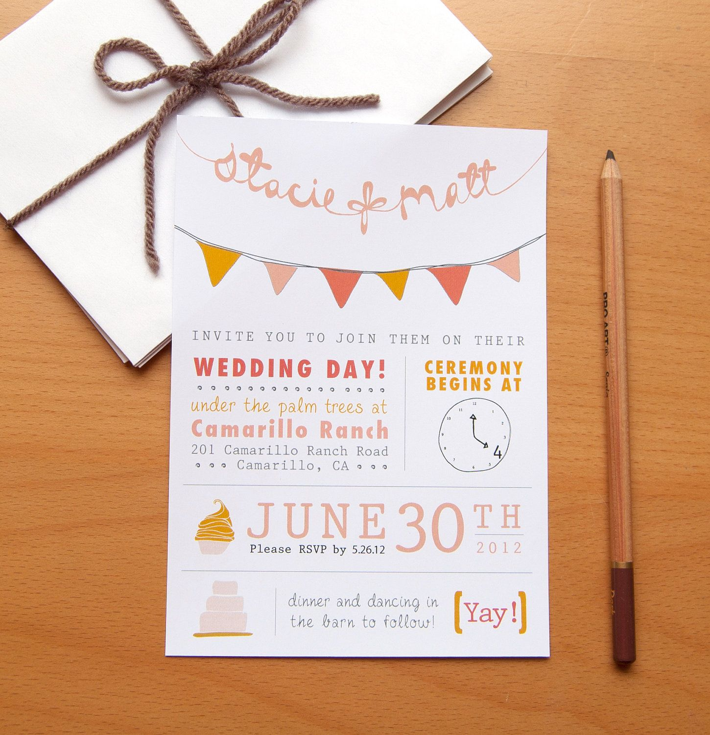 Diy style wedding invitation with bunting pennant flags
