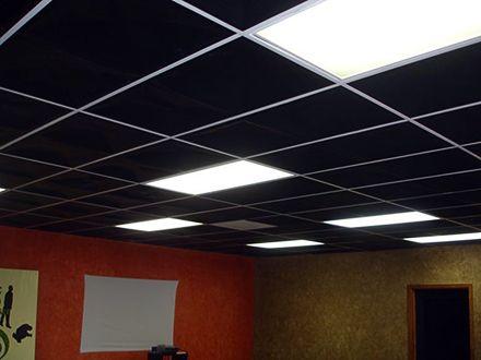 Black Tiles On White Black Ceiling Tiles White Ceiling Grid Ceiling Design