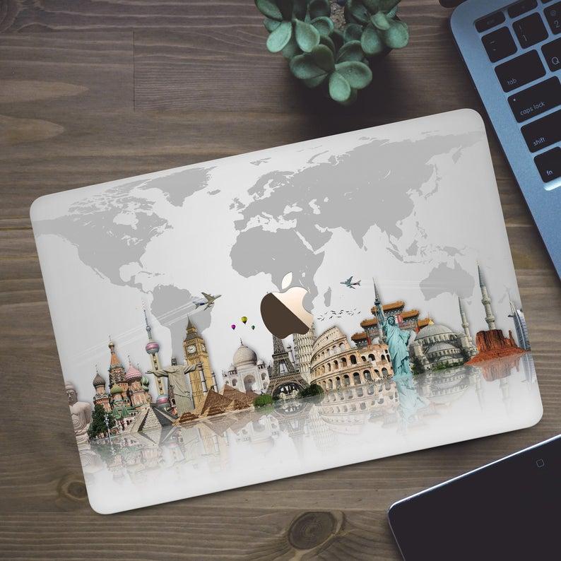 Travel Case Macbook 12 inch World Map Macbook Pro 15 Retina | Etsy