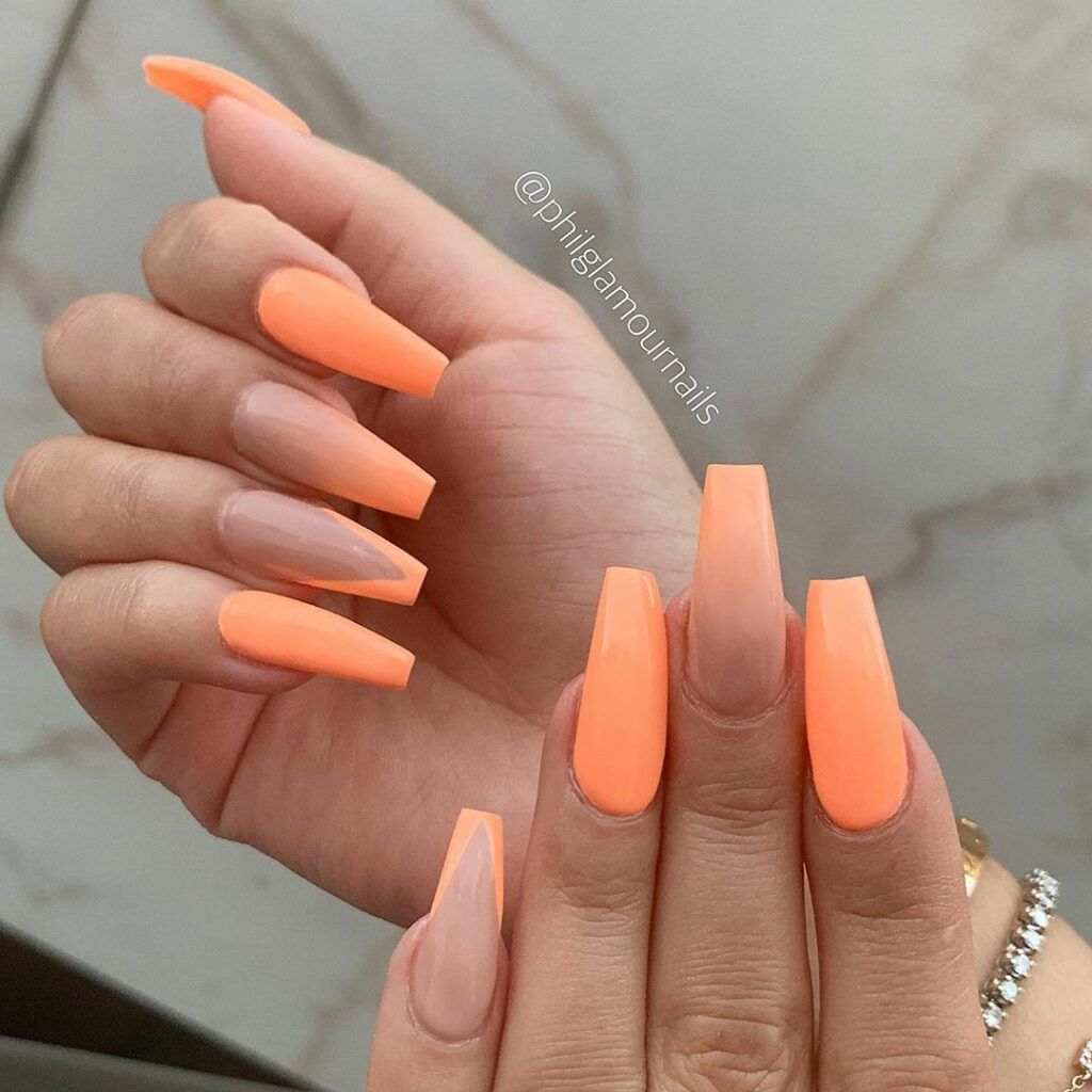 Ombre Matte Nails Orange Coffin Nails