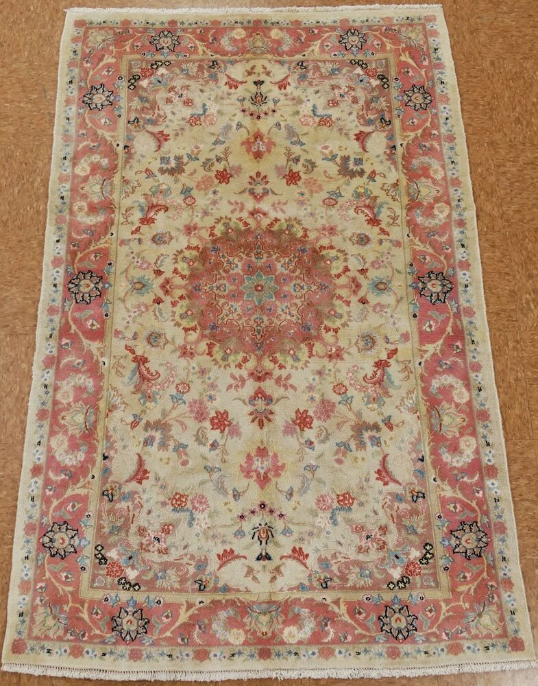 Hand Knotted Persian Tabriz Persian Tabriz Floral Rug Number Ivory Rose Blues Greens Yellows Rust Brown Oriental Rug Red Wool Area Rug Wool Area Rugs