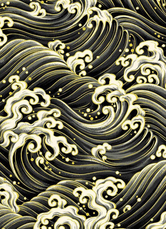 QUILT GATE : Hyakka Ryoran - HR3910-14   Japanese waves ...
