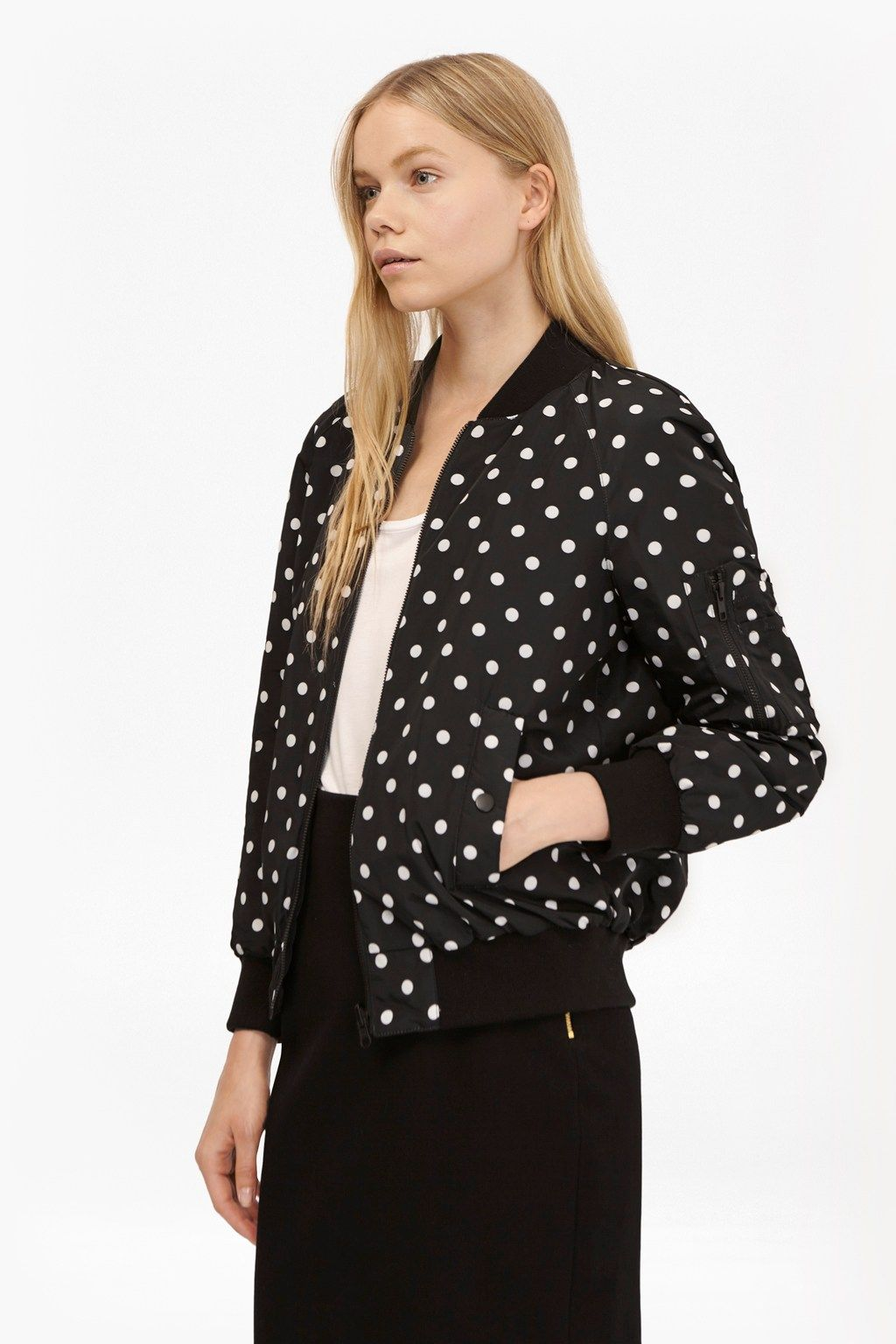 94f0fd02b319 Dotty Spot Reversible Bomber Jacket   Womens Jackets   French Connection Usa