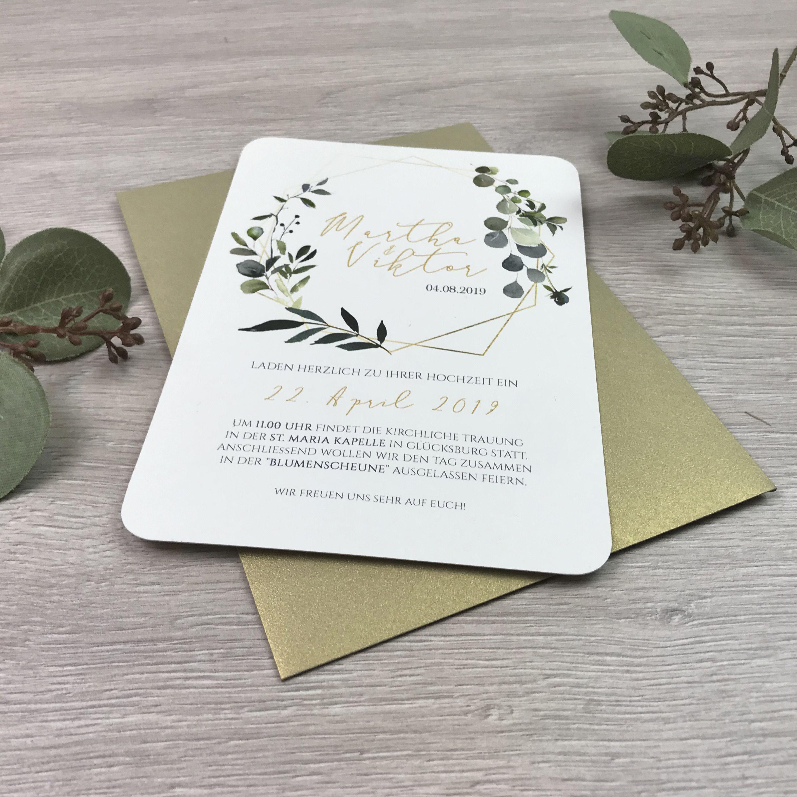 Einladung Hochzeit Boho Gold Eukalyptus Kranz I Rahmen I Geometrisch Mywedd Hochzeitseinladung Einladungen Hochzeit Einladungskarten Goldene Hochzeit