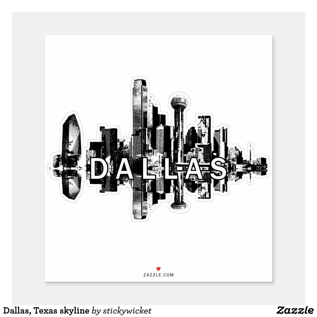 Dallas texas skyline sticker dallas texas