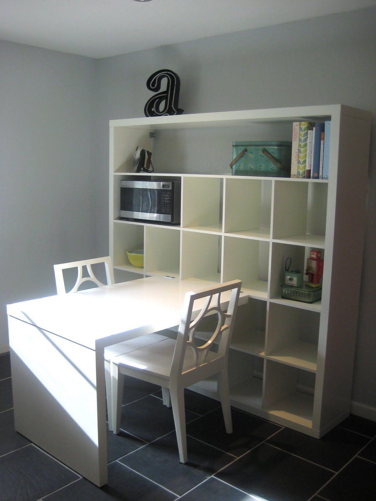ikea expedit bookshelves and desk scrapbook nook