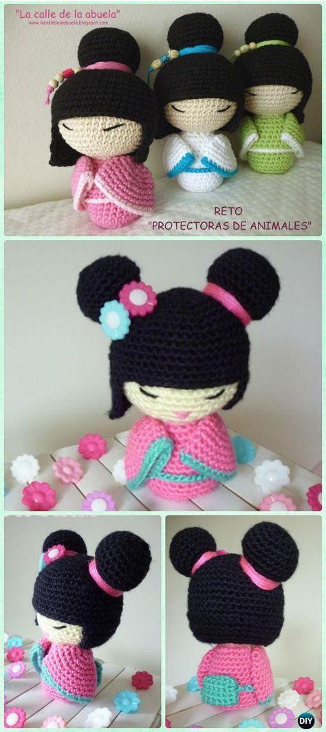 Crochet Amigurumi Japanese Doll Kokeshi Free Pattern - Crochet Doll ...