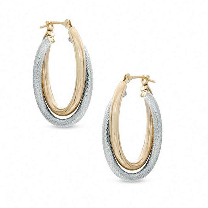 Zales Geometric Double Circle Hoop Earrings in 14K Gold j2hJj7T9