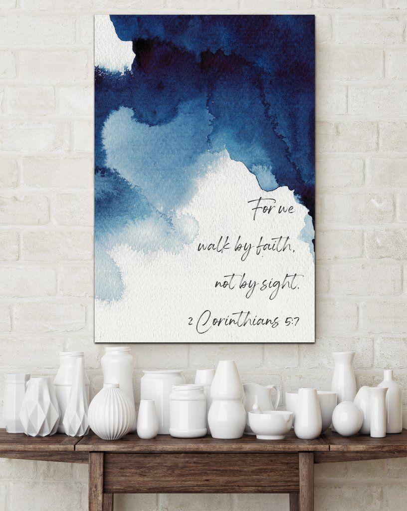 Walk By Faith Blue Watercolor Inspirational Canvas Modern Wall Art Canvas Wall Art Farmhouse Wall Art Watercolor Wall Art
