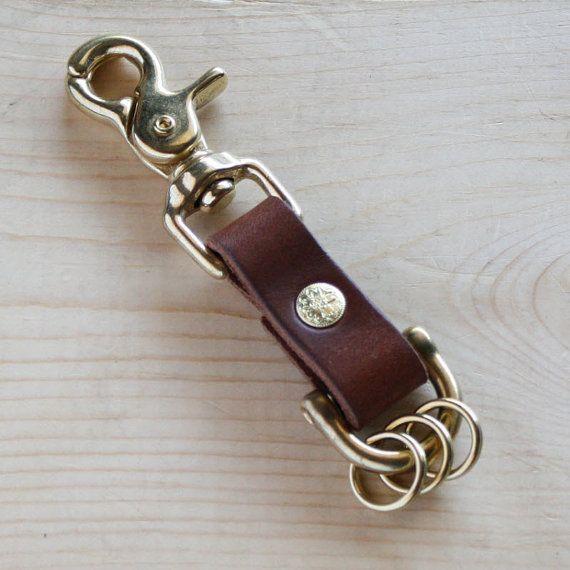 1X Brass Metal Key Snap Hook Holder Row Rivet Keyring Organizer Holder Hardware
