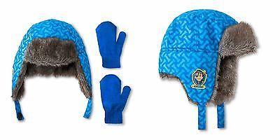 1db73afe523f0 Toddler Girlsor boys Paw Patrol Trapper Hat and Mittens Set blue ...