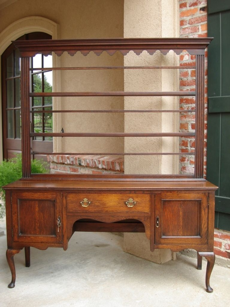 LARGE Antique English Oak Victorian Sideboard Welsh Dresser PLATE