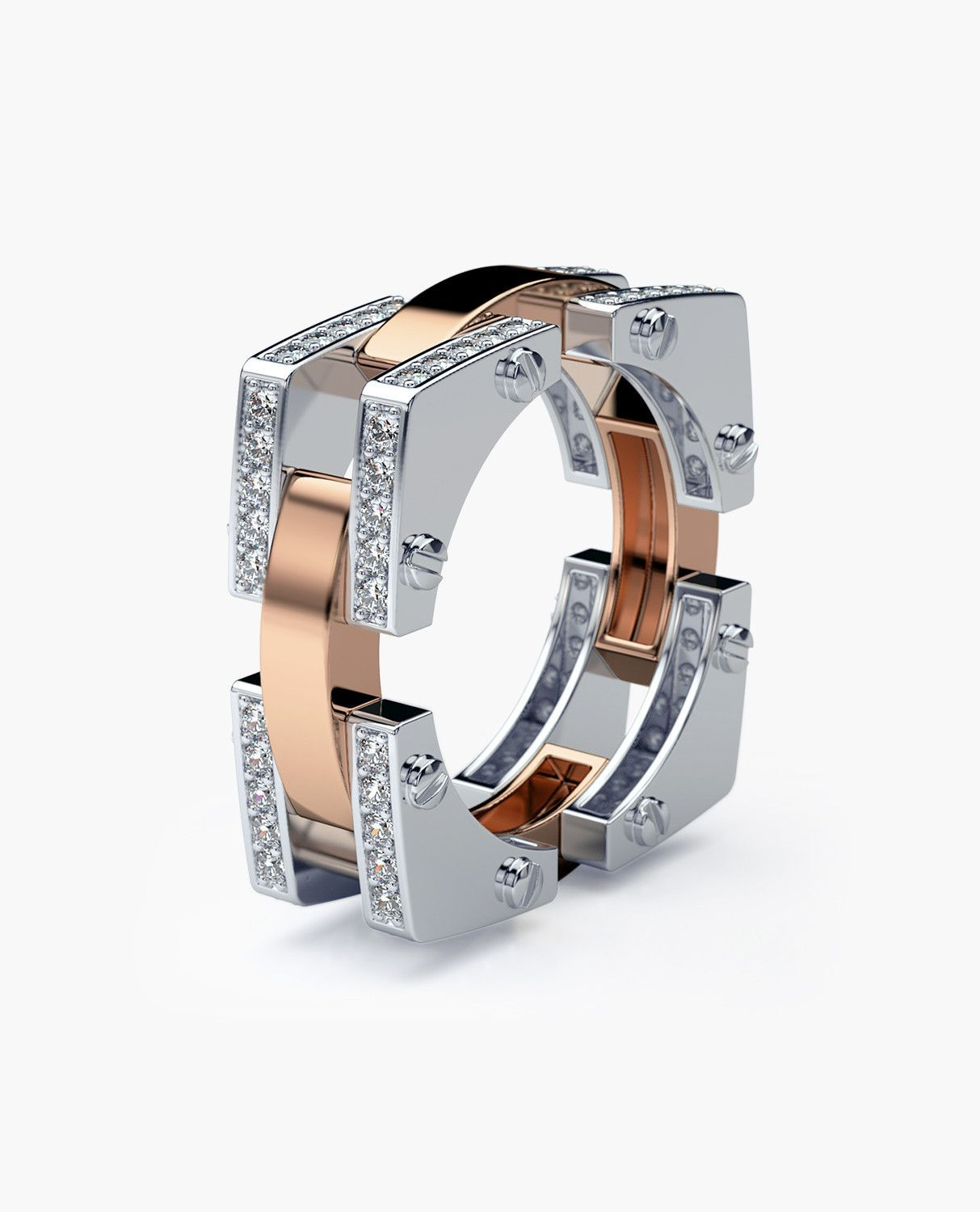 BINGHAM Mens TwoTone Gold Wedding Band with 1.05ct