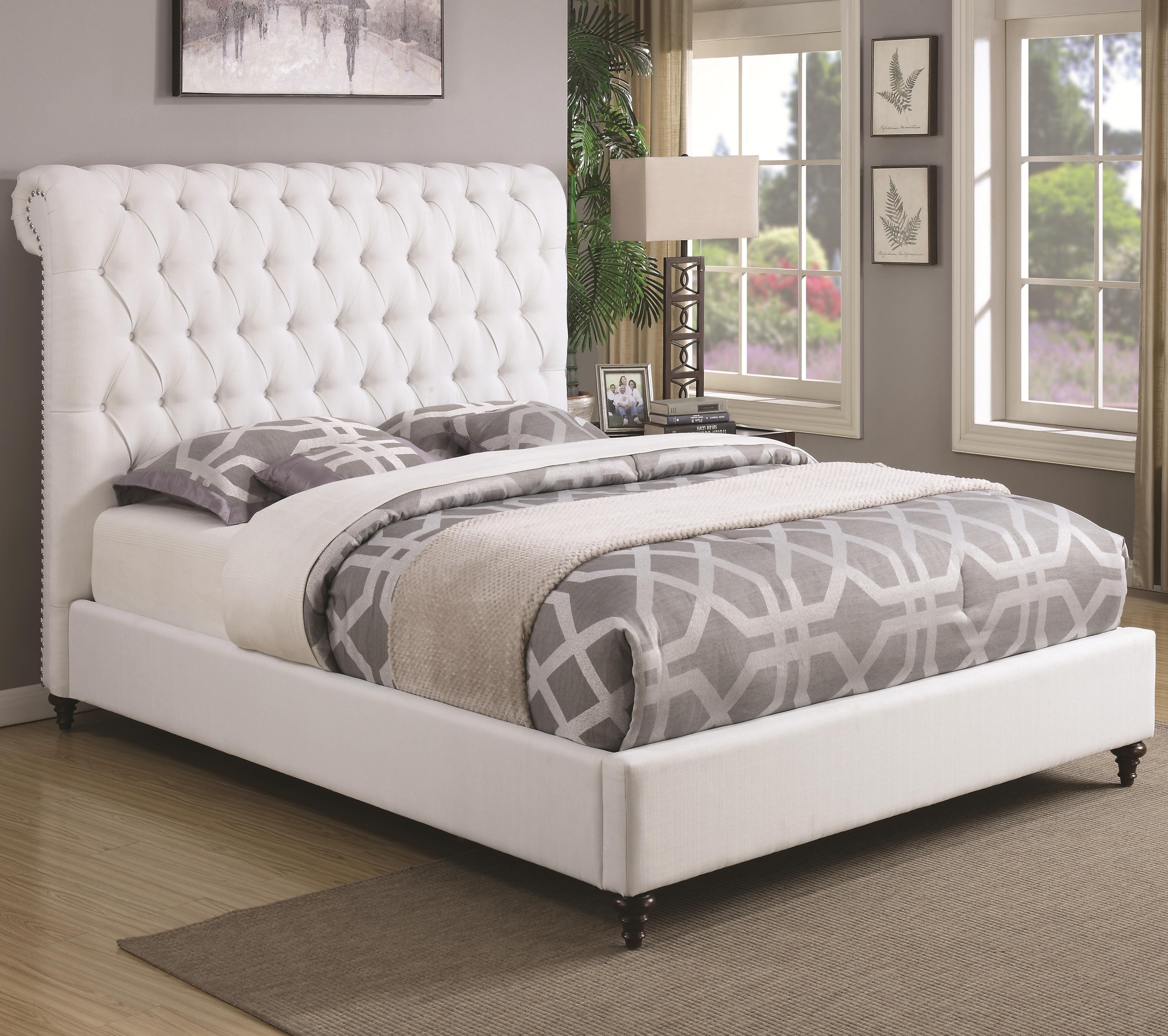 White Fabric Bed Frame Polsterbett Schlafzimmer Einrichten