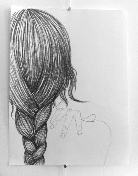 braid drawing woman hair sketch