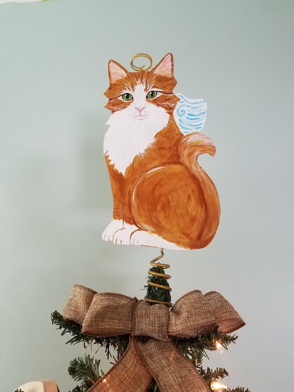 Orange and White Cat Christmas Tree Topper Cat