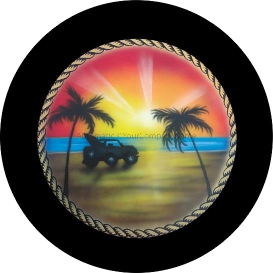 2a607d1f Rope Jeep on the Beach Tire Cover | Beach Scene and Island Print ...