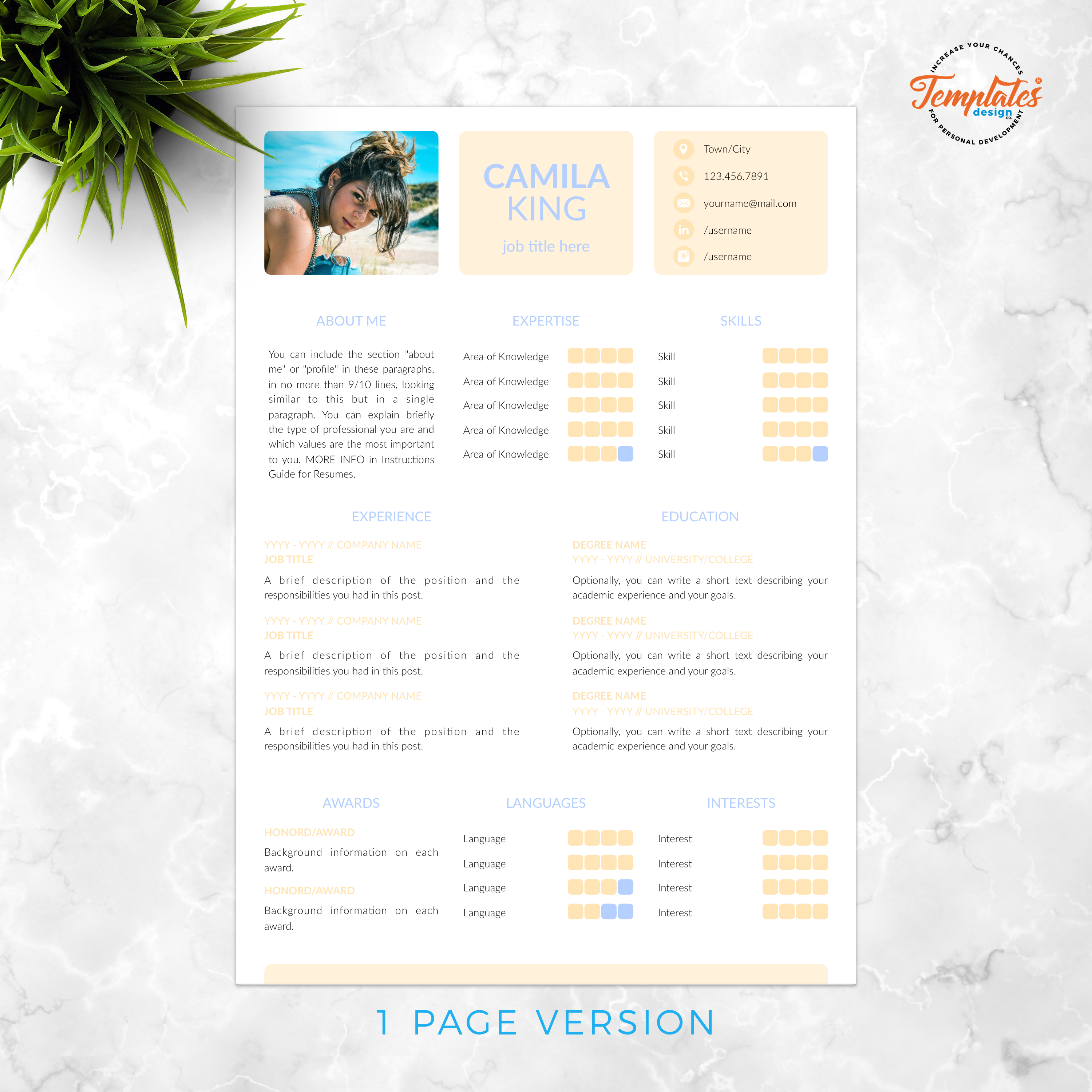 Resume Template for Ms Word (.docx) & Pages (.pages) with