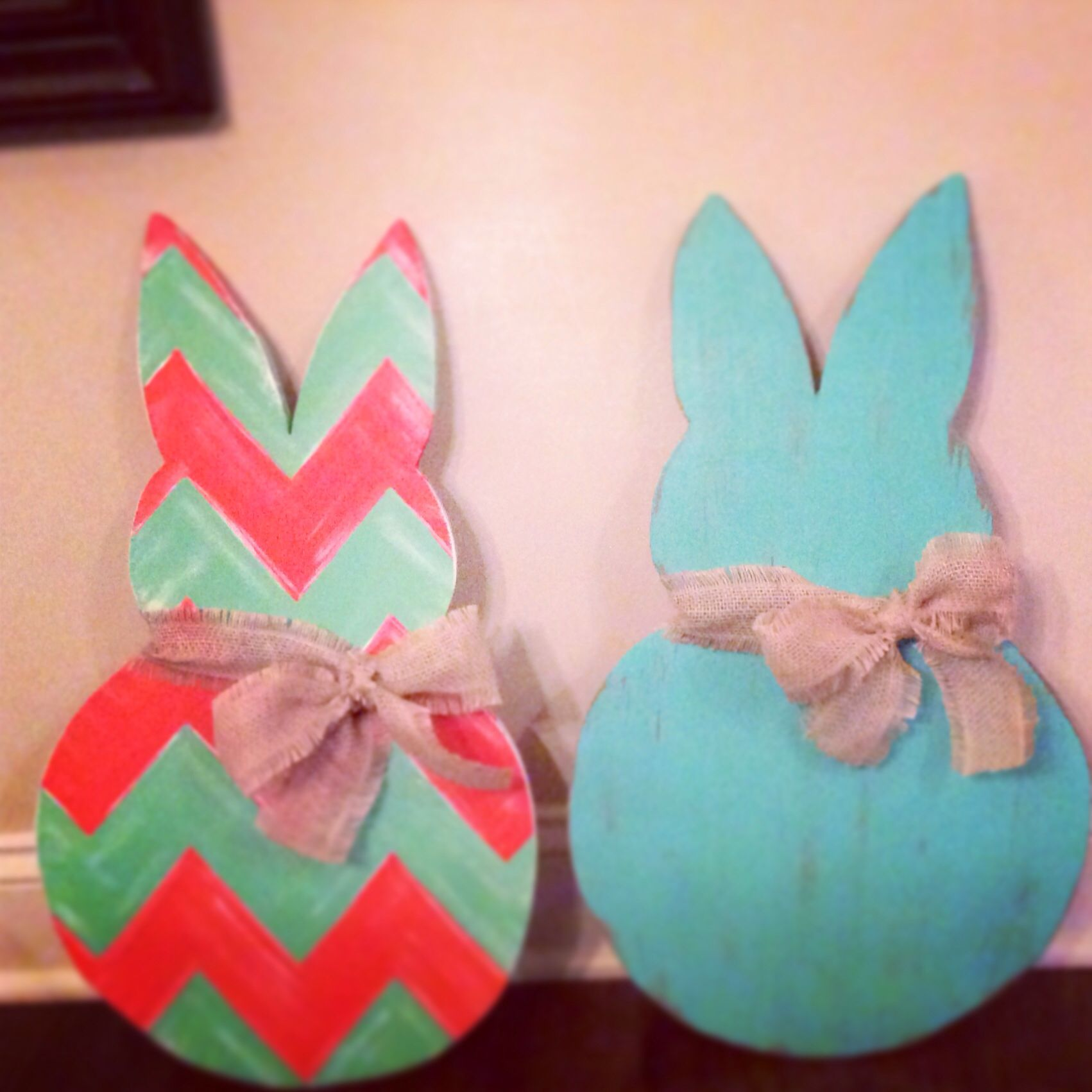 Just need to add the burlap rope to hang them;). Bunny door decor.