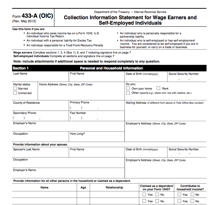 Irs Form A Oic Collection Information Statement For Wage