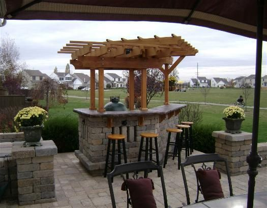 Furniture, Patio Bar Designs Mini Bar Outdoor Wooden Table Brick Stones  Wall Bar Table Glass