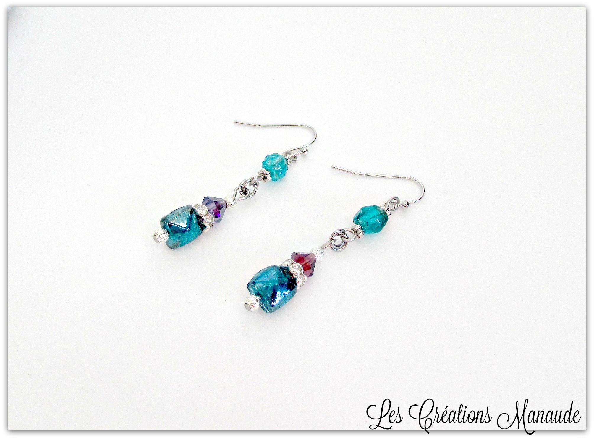 Boucle d'oreille bille de verre Murano bleu vert transparente, bleu turquoise opaque, cristal mauve AB. Les Créations Manaude