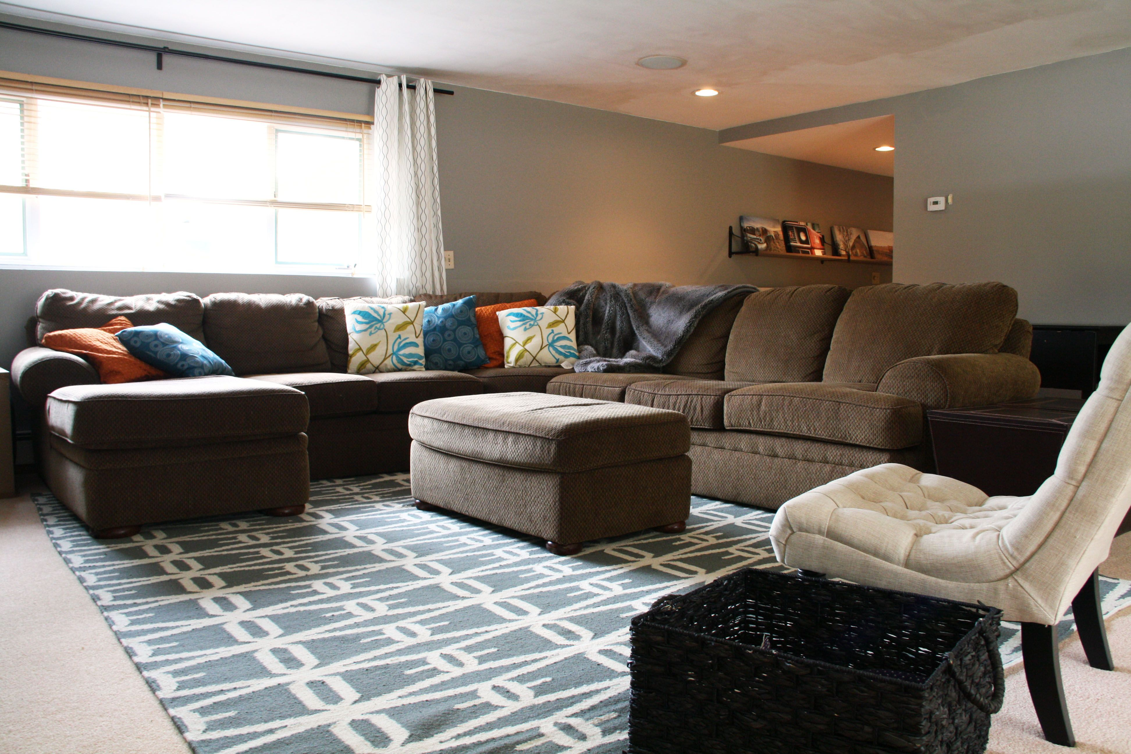Inspiring Joss And Main Rugs For Interior Room Decor Ideas: Gray Pattern  Joss And Main Rugs In Family Room With Brown Sofa