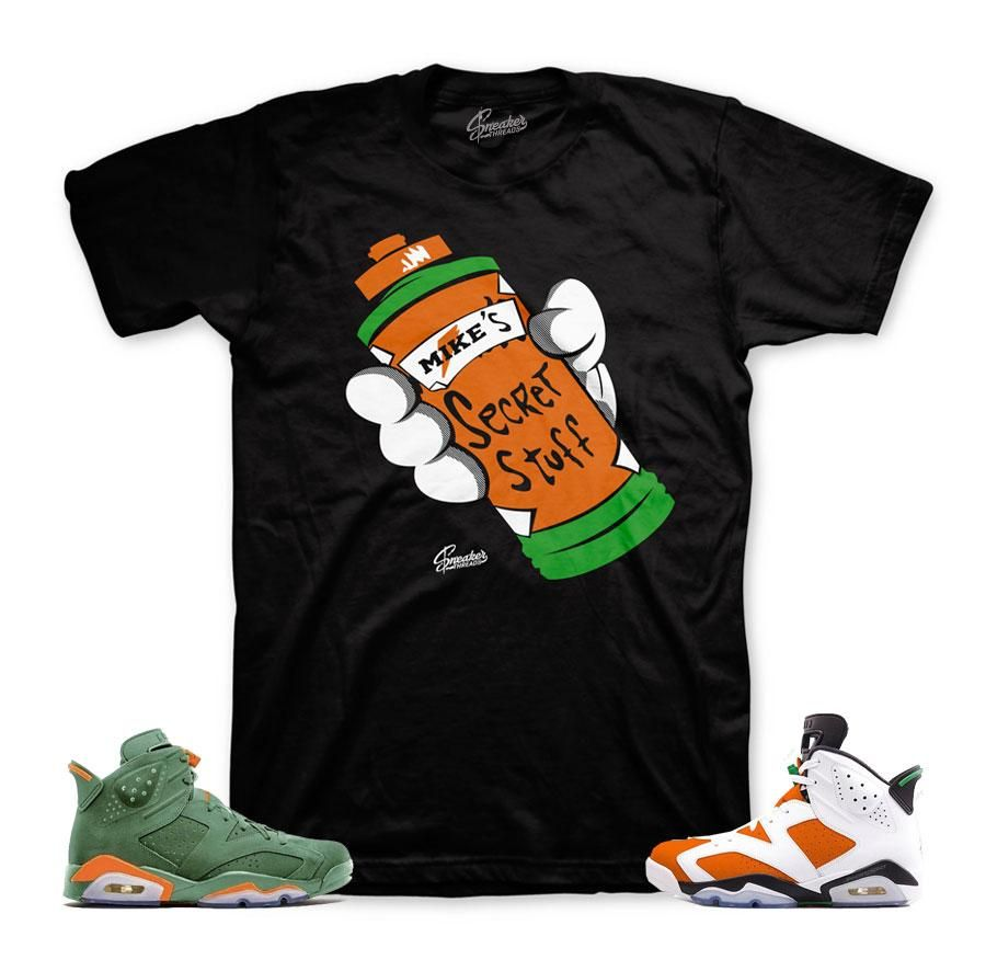 cc8be224dba Shirts match Jordan 6 like mike shoes to match 6s gatorade inspired sneaker  colorway. ST Clothing - Secret Stuff Shirt -100% Cotton -Fits True To Size  ...