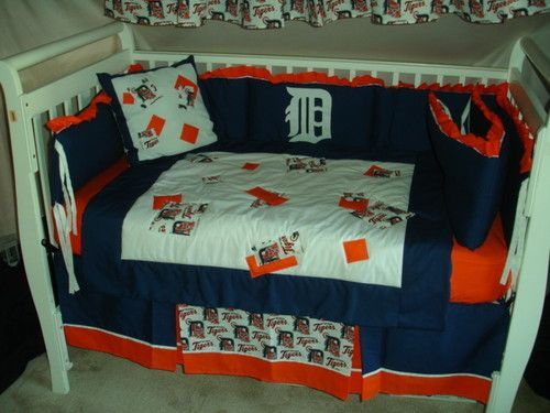 f9fa0085 Details about CRIB NURSERY BEDDING SET MADE/W DETROIT TIGERS FABRIC ...
