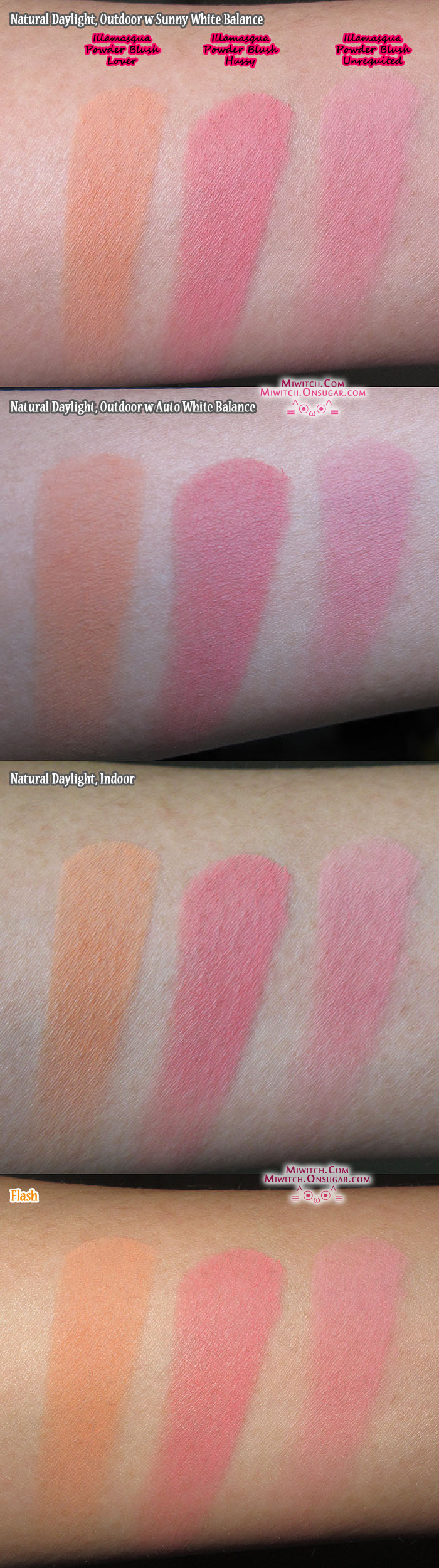 Miwitch Review Swatches Illamasqua Powder Blusher Lover Hussy Vs Unrequited Swatch Blusher Reviews