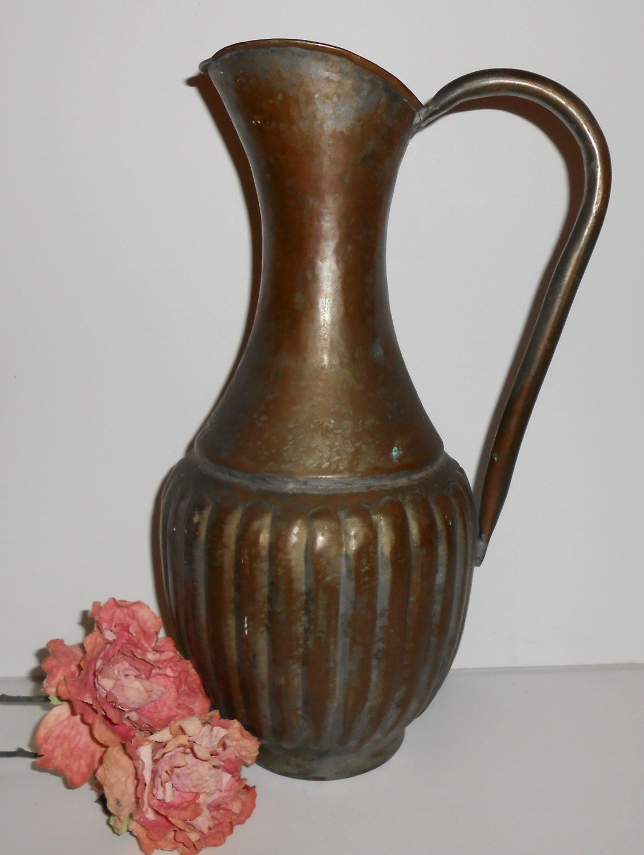 vintage pitcher brass water pitcher egypt large copper vintage pitcher brass water pitcher egypt large copper pitcher vase egyptian decor metal brass decor isc egypt