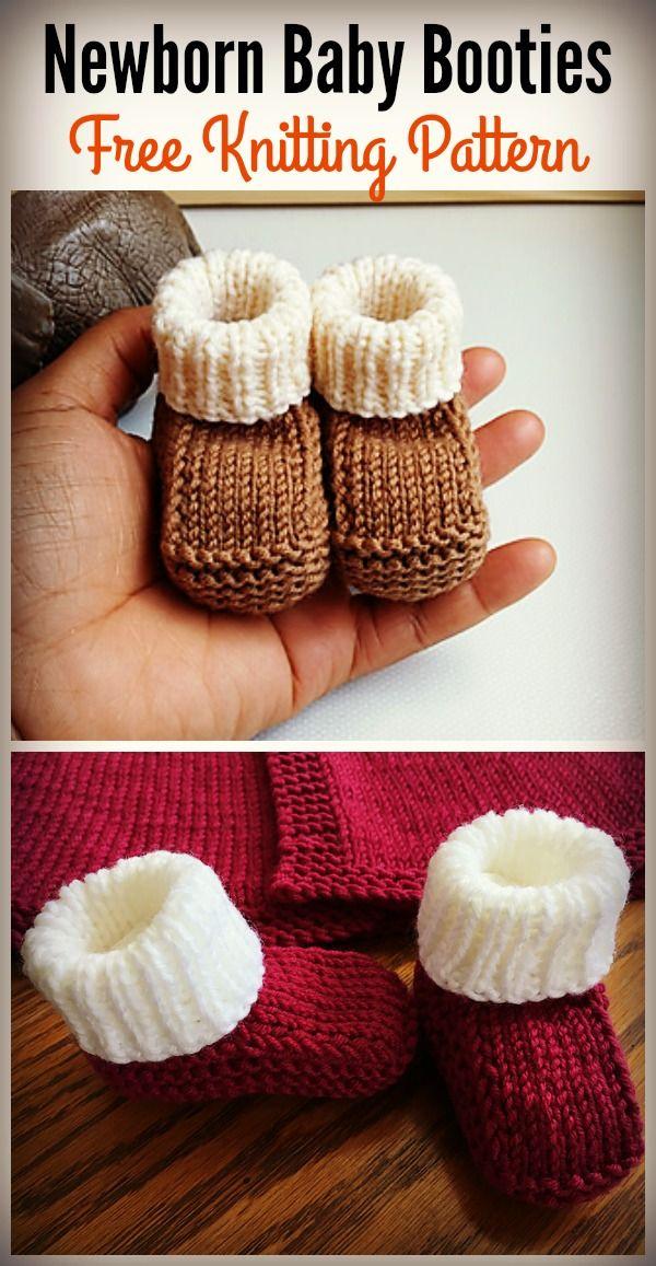 Newborn Baby Booties Free Knitting Pattern | Knitting | Pinterest