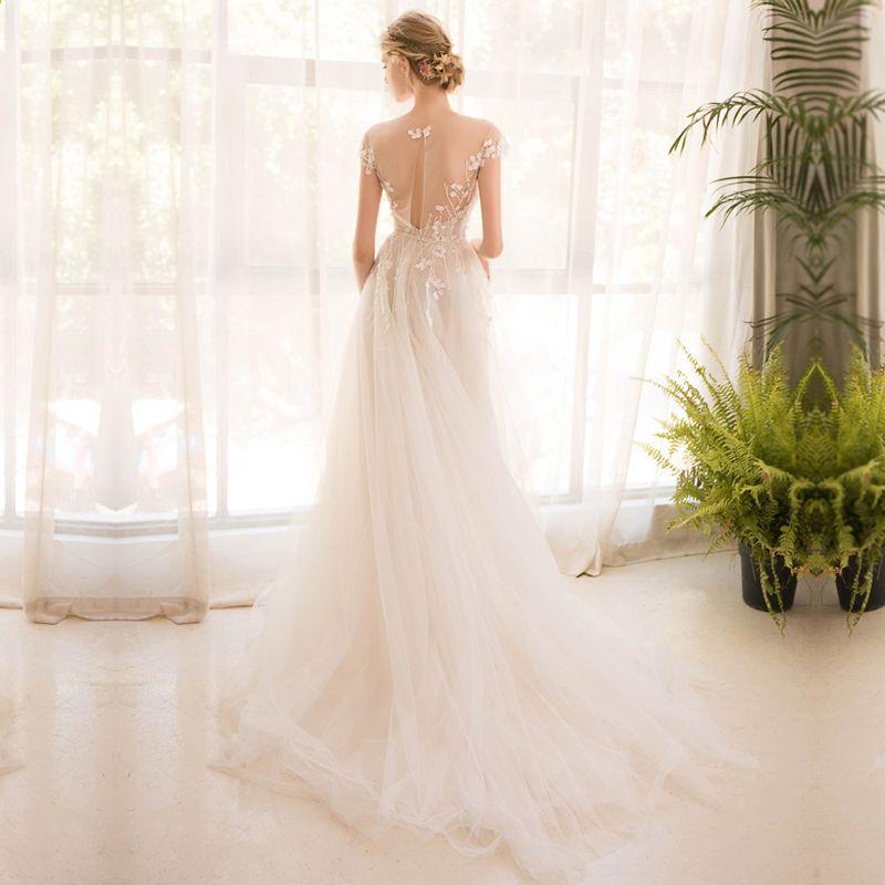 lange halbe Hülse Spitze Hochzeitskleid High-End 2018 Braut ...