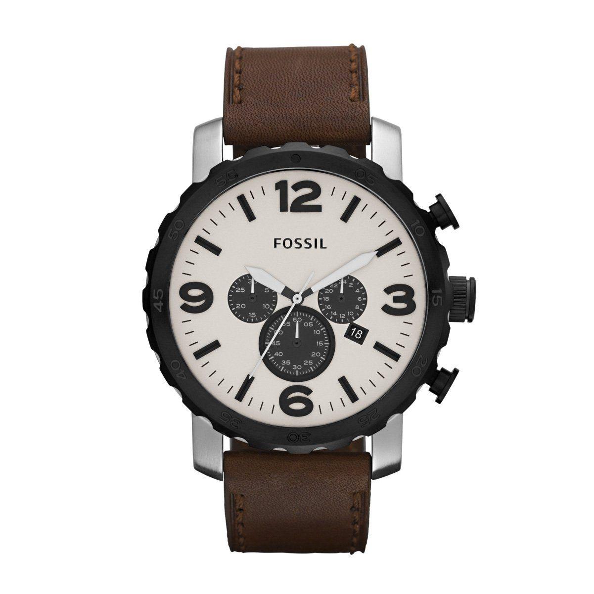 Fossil JR1390 - Reloj cronógrafo de cuarzo para hombre con correa de piel f64df319ed98