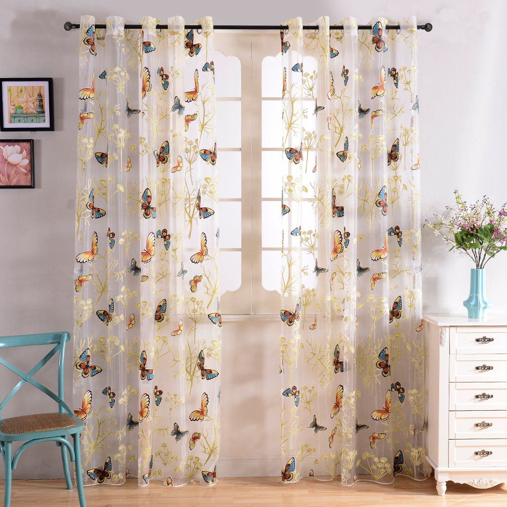 Top Finel Butterfly Window Sheers Curtains Panels Voile Gauze For Kids  Girls Room 54 X 96