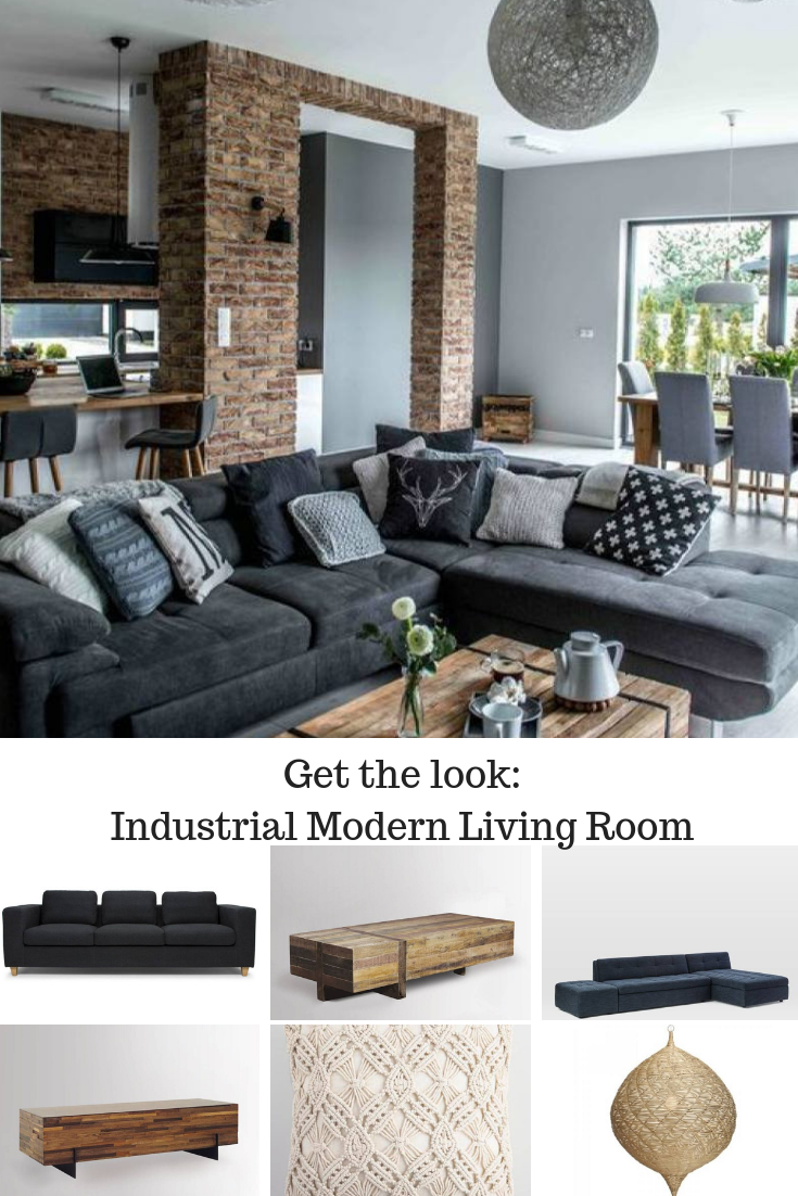 Room Redo Modern Farmhouse Living Room Decor Dark Grey Couch