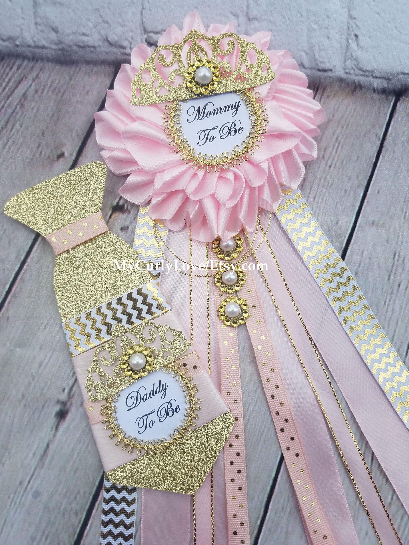 Princesa Bebe Ducha Mama Para Ser Corsage Rosa Y Oro Princesa