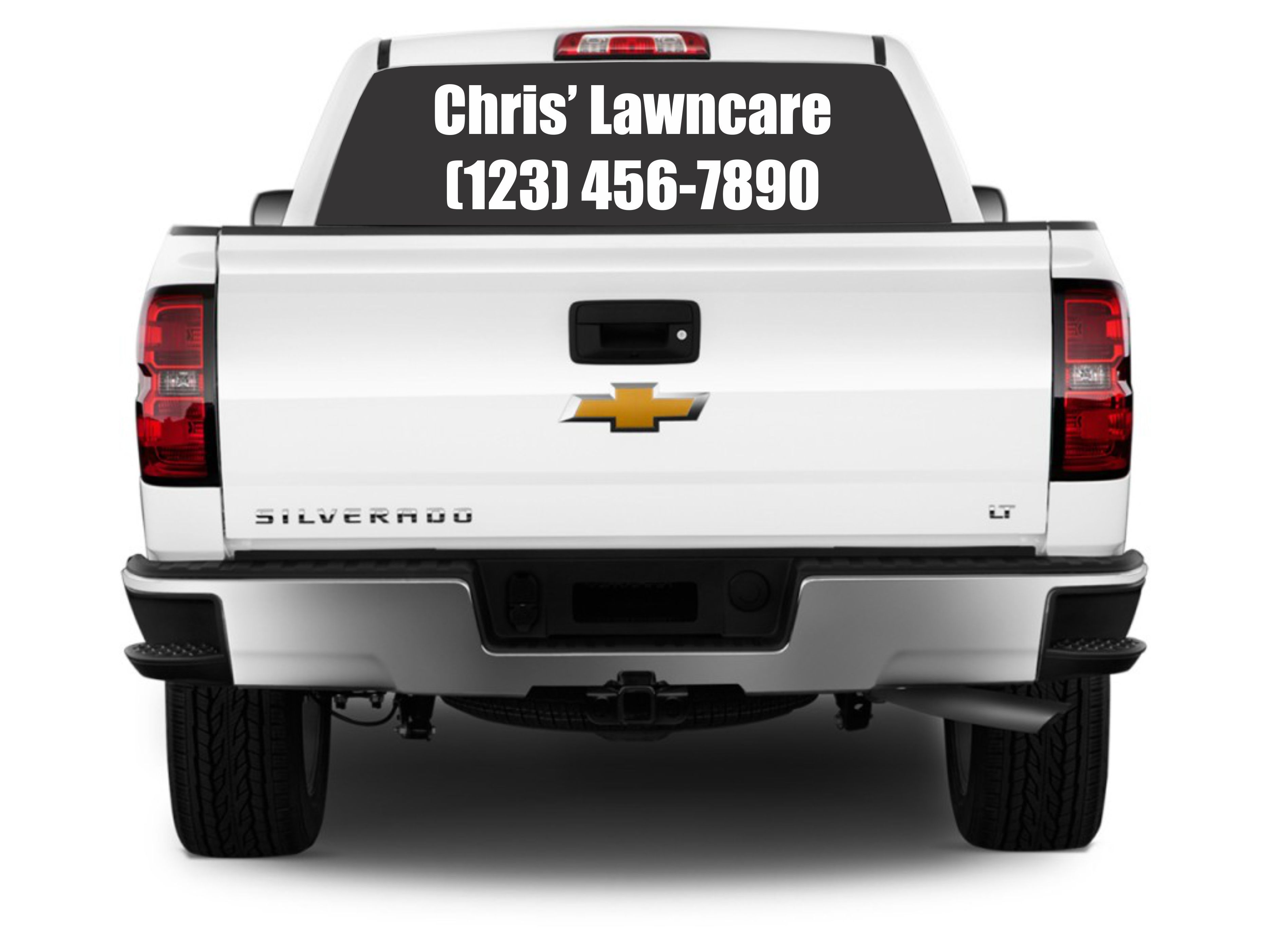 Thanks Chris Lawncare For Your Vinyl Decal Backglass Order Advertise Your Business On Your Car Truck Or Any Vehicle With Vinyl Le Silverado 1500 For Sale Custom Vinyl Lettering 2017 Chevrolet Silverado 1500