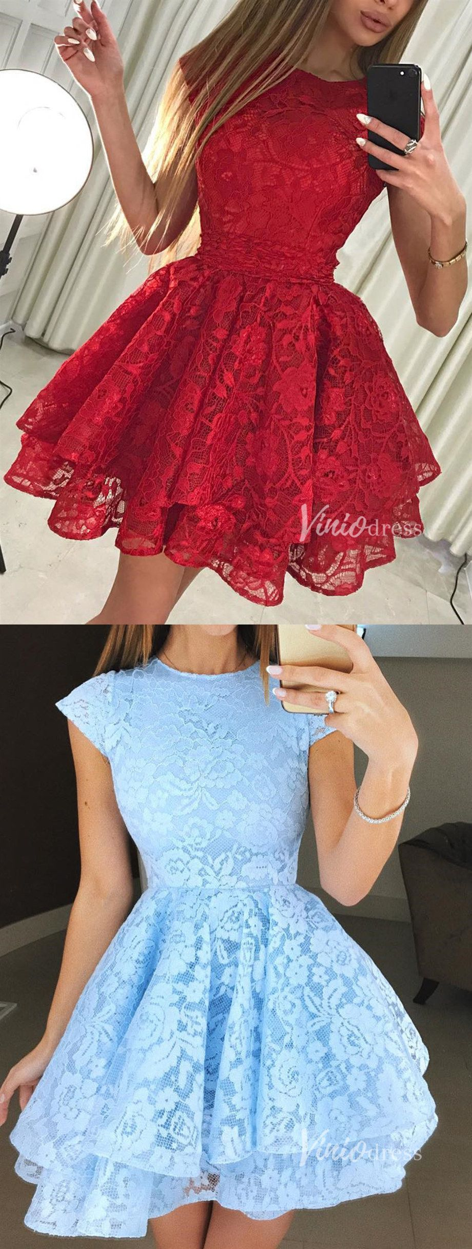 Chic red lace cocktail dress. Sky blue lace homecoming dresses 2019
