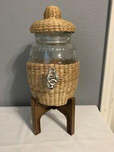 Details about Basket Weave Glass Beverage Dispenser W/ Lid, Brown Plastic Jug Holder #plasticjugs Basket Weave Glass Beverage Dispenser W/ Lid, Brown Plastic Jug Holder  | eBay #plasticjugs