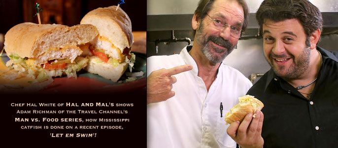 """Chef Hal White of Hal and Mal's in Jackson, Mississippi shows Adam Richman of The Travel Channel's """"Man vs. Food"""" Series how MS Catfish is done!"""