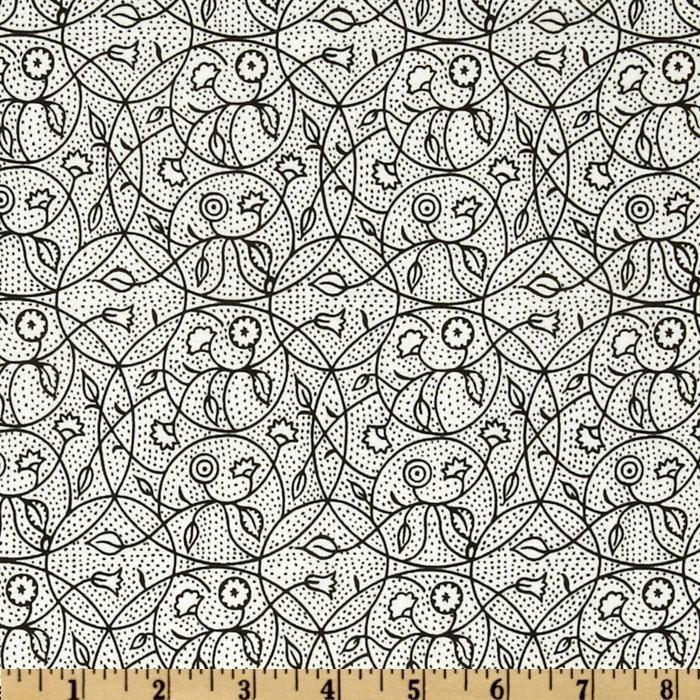The Ghastlies A Ghastlie Crewel White/Black - Discount Designer Fabric - Fabric.com
