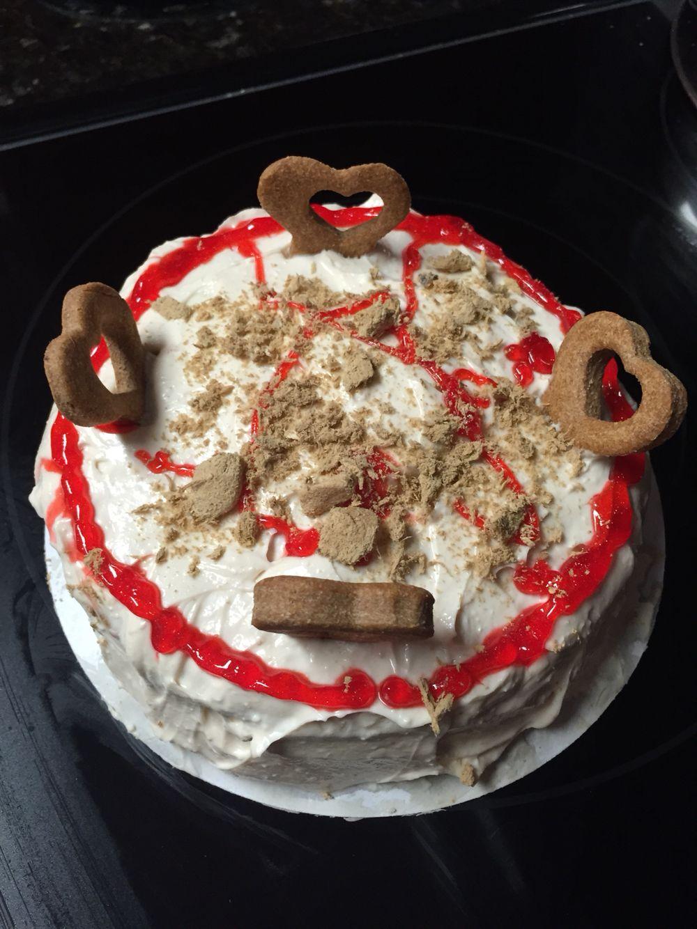 Doggie birthday cakemade with dog friendly cake mix by