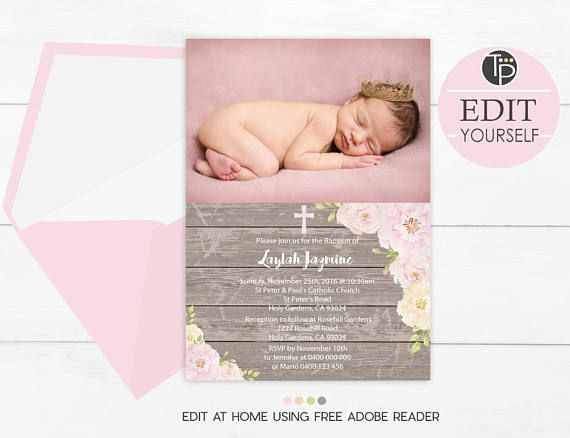 girl baptism invitation with photo instant download editable