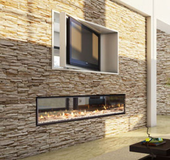 revolving tv and double-sided fireplace | DesignQ™ | | Pinterest | Double sided fireplace