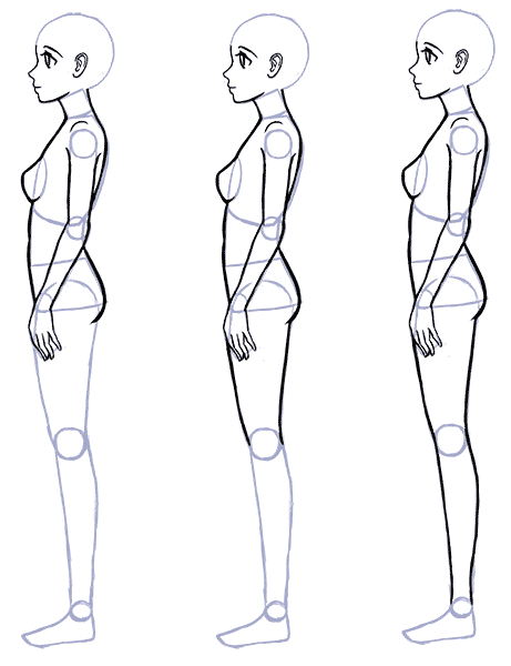Draw Anime Side View Body Proportions Gif 461 600 Person Drawing Drawing Anime Bodies Anime Drawings